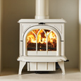 Ivory-multi-fuel-Huntington-30-with-tracery-door-burning-logs 2-ti